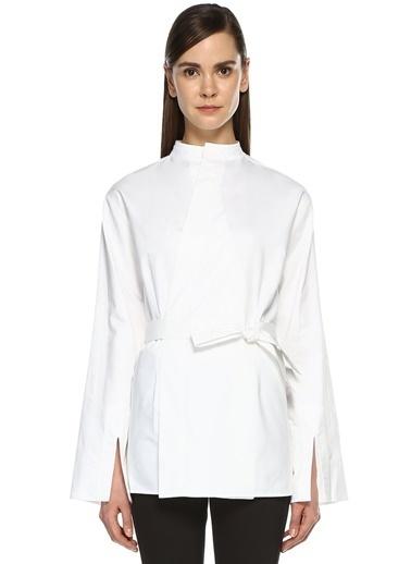 Joseph Beli Kuşaklı Uzun Kollu Gömlek Beyaz